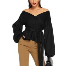 Hot White Green Black Office Lady Elegant Lantern Sleeve Blouse Surplice Off Shoulder Solid Autumn Sexy Women Tops Blouses