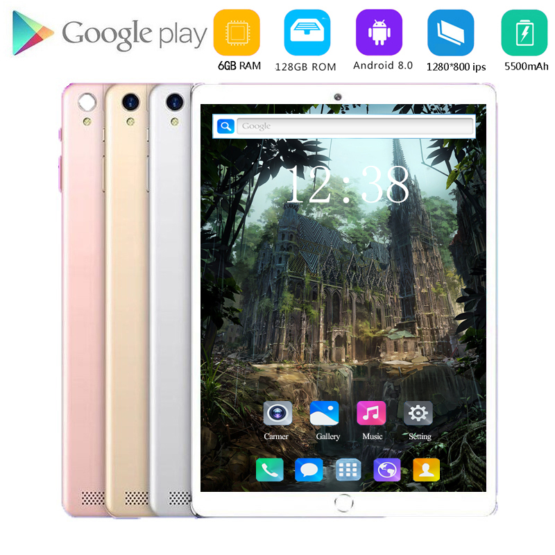 2020 Android 8.0 Tablet 10.1 Inch Touch Screen Tablet PC 10 Deco Core Processor 6GB RAM 128GB ROM 4G Phone Call 5MP+2MP Camera