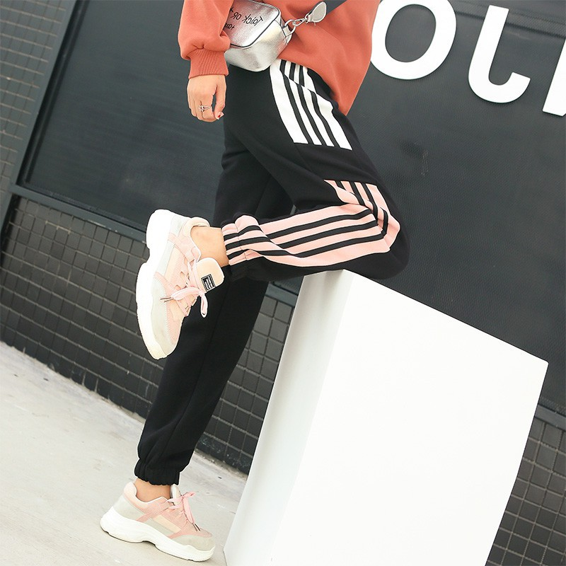 Korean Harajuku High Waist Side Striped Cargo Pants Women Girls Loose Sweatpants Joggers Hip Hop Female Long Trousers