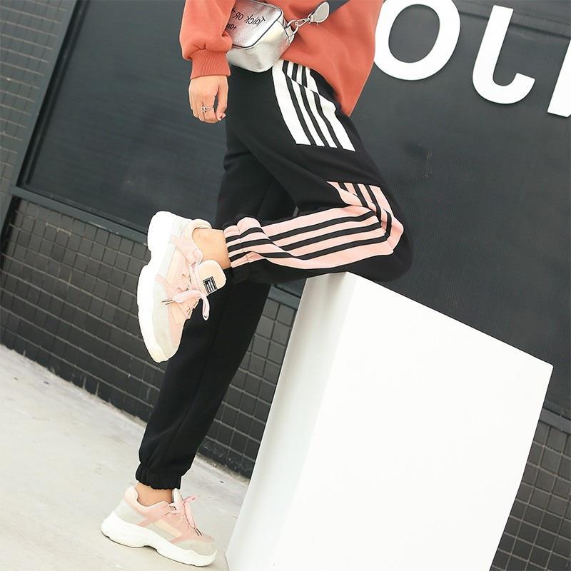 Korean Harajuku High Waist Side Striped Cargo Pants Women Girls Loose Sweatpants Joggers Hip Hop Female Long Trousers