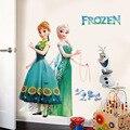 Мультяшные наклейки на стену «сделай сам», «холодная принцесса», Эльза, Анна, для девочек, детской комнаты, фоновое украшение, съемный посте...
