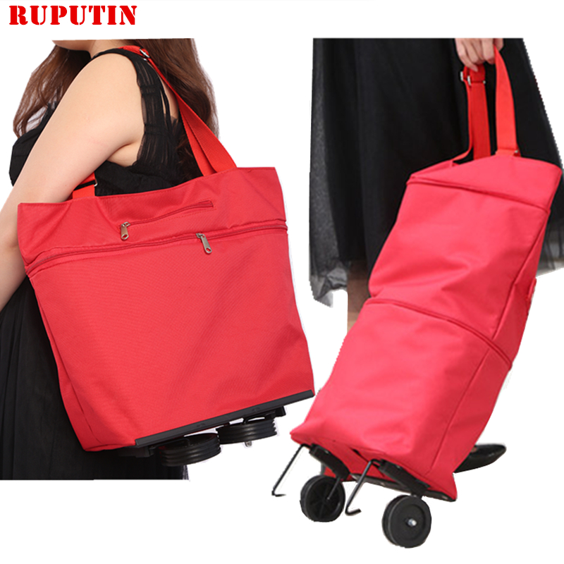New Folding Shopping Bag Shopping Cart On Wheels Bag Small Pull Cart Women's Buy Vegetables Bag Shopping Organizer Tug Package