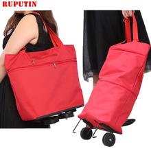 New Folding Shopping Bag Cart On Wheels Small Pull Womens Buy Vegetables Organizer Tug Package