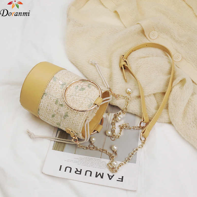 DORANMI תחרה דלי תיק נשים של חבית-צורת כתף שקיות שליח 2020 טבעת למעלה-ידית שקיות נקבה Crossbody תיק BG601