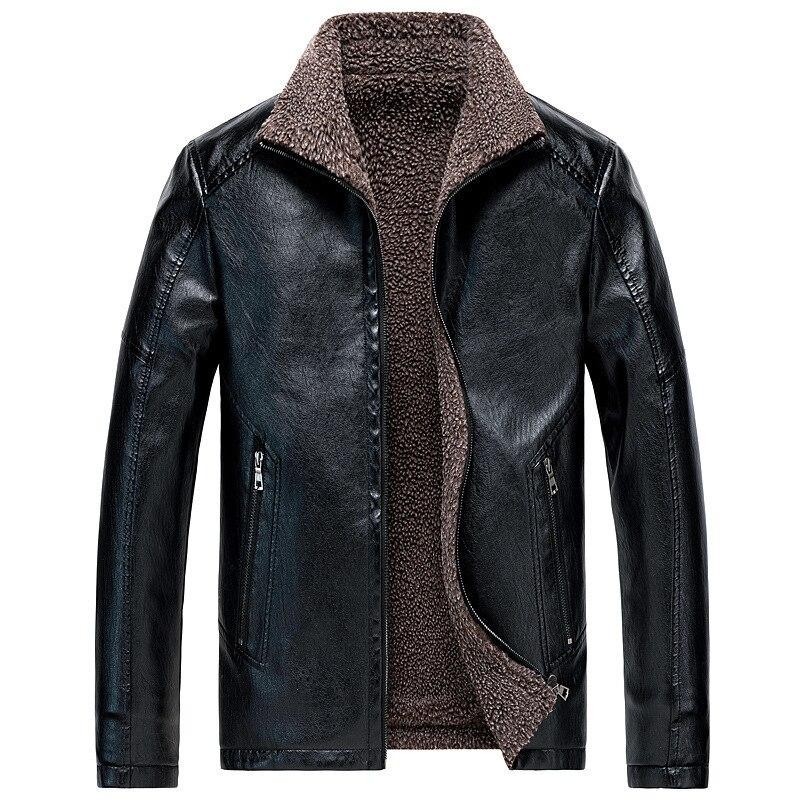 Winter Pu Leather Jacket Men Thick Velvet Fleece Warm Outwear Jacket Coat Zipper Motorcycle Plus Size Oversized Leather Jacket