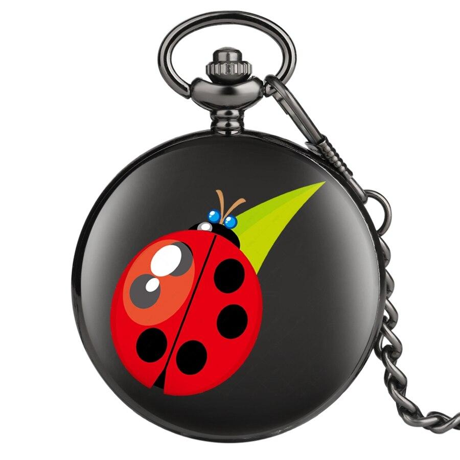 Watch Reloj Red Beetle Ladybug Pattern Quartz Pocket Watch Necklace Pendant Unisex Gifts Hot Pocket Watch New Smooth Black Clock