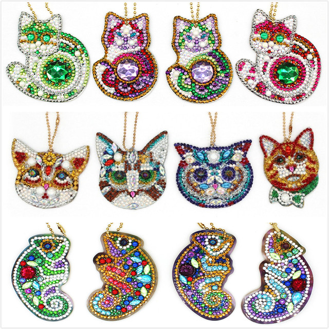 5d Diy Diamond Painting Keychain For Christmas Gift Cat Unicorn Keyring 4sets With Free Shipping Bag Jewelry Ornaments YSK23