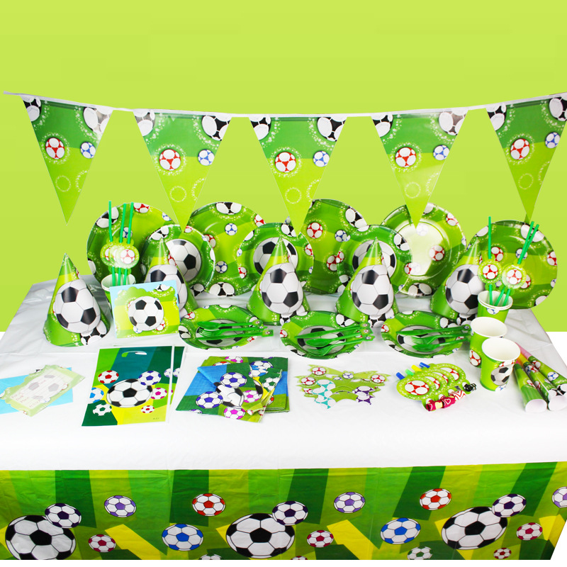 Baby Party Supplies Set For 6 People Football Theme Birthday Party Supplies Set Baby Gift Child Kids Girls Party Supplies Set