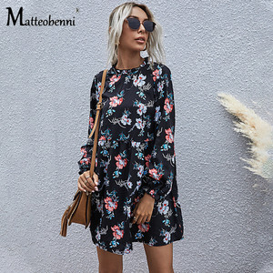 2020 Spring Autumn Fashion Women Floral Elegant Casual Mini Dress Vintage A-Line Puff Sleeve O-Neck Sexy Party Slim Dress Ladies