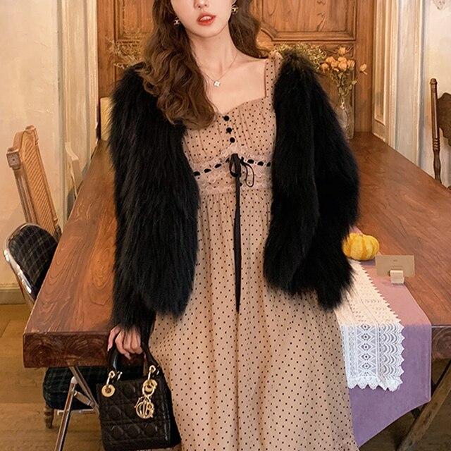 French Vintage Midi Dress Women Puffer Sleeve Square Collor Office Elegant Dress Female 2021 Spring Dot One Piece Dress Korean 4