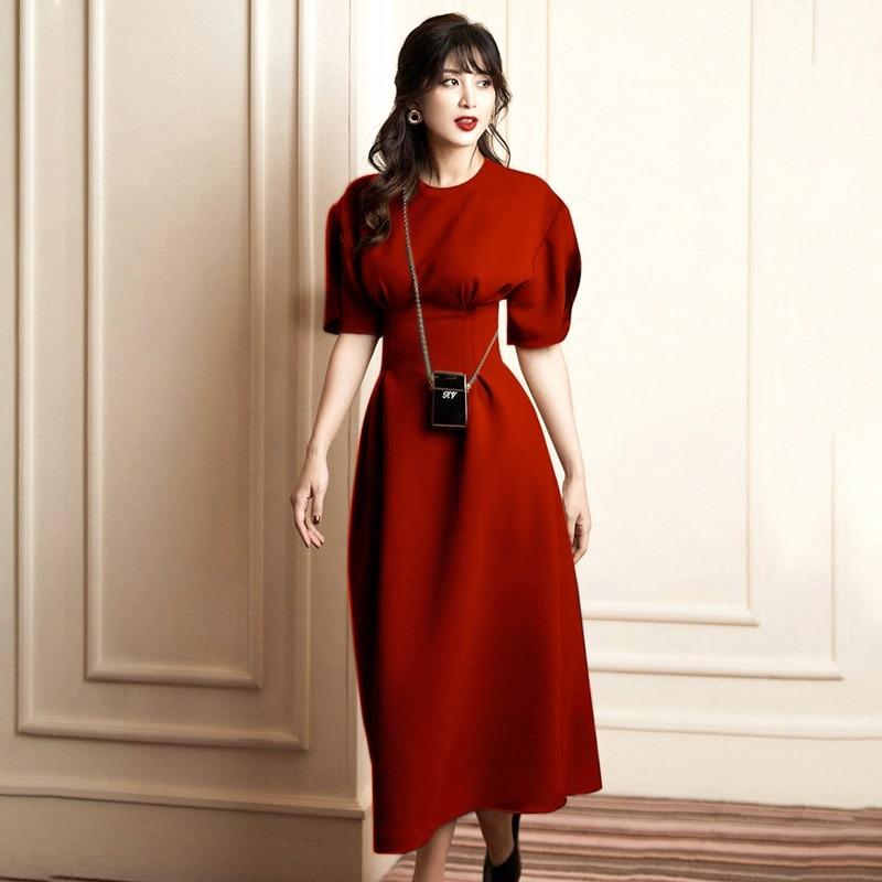 Verão outono mangas curtas o pescoço vestido ol colete cintura vermelha longo formal vestido feminino vestidos elegantes nova chegada 2019 aa5090
