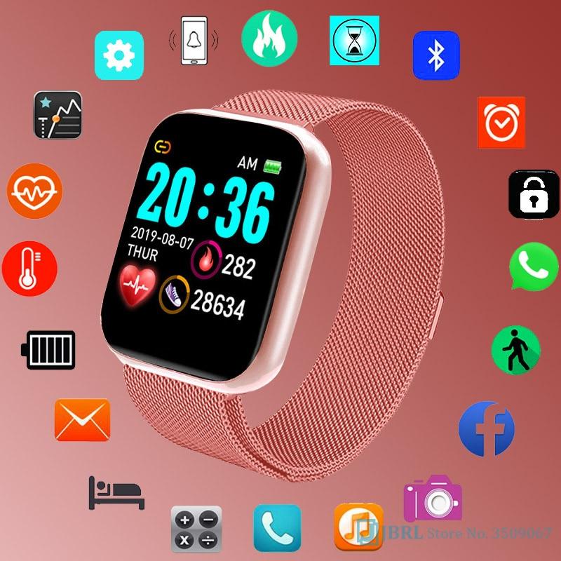 Fashion Square SmartWatch Women Men Fitness Tracker Sports Electronics WristWatch For Andriod Ios Smart Clock Female Smart Watch