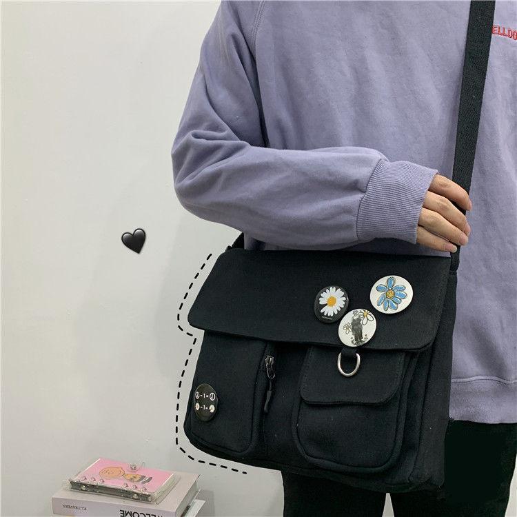 Canvas Diagonal Cross Bag Youth Fashion Casual Version Ladies Large Capacity Shoulder Bag Solid Color Women Messenger Bags 2