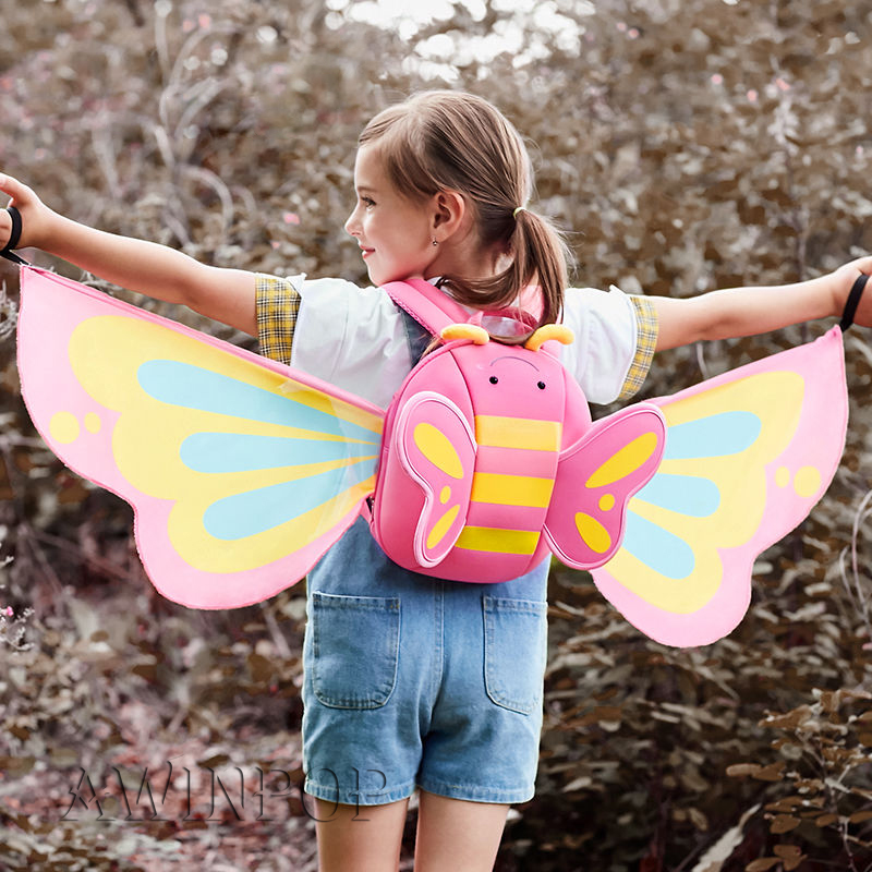 3D Butterfly With Wings School Bags For Girls Toddler Children School Backpacks Book Bag Kindergarten Kids Bag Mochila Escolar