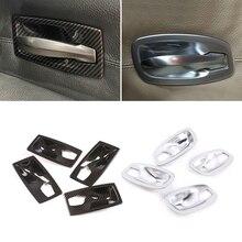 For BMW 5 Series E60 2004 2005 2006 2007 2008 2009 2010 Carbon Texture Car Interior Door Handle Bowl Frame Protective Cover