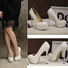 Large Size High-heeled Shoes for Sex Women Female Glamour 14cm High Heel Boots PU Leather White Black Platform Boots Size 41-46(China)