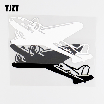 YJZT 15.7X7.9CM Creative Aircraft Car Stickers Vinyl Decal Funny Decoration Black / Silver 10A-0040 image