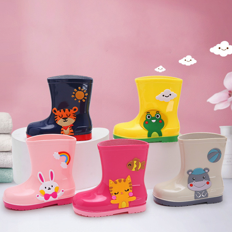 Kids Rain Boots Rubber Boots Cartoon Animals Kids Rain Shoes Boys Water Shoes Girls Rain Boots All Seasons For Children PVC Soft