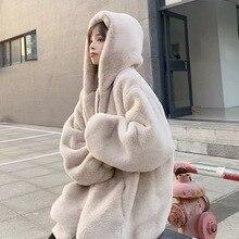 Пальто для беременных Длинное свободное с меховым капюшоном зимнее