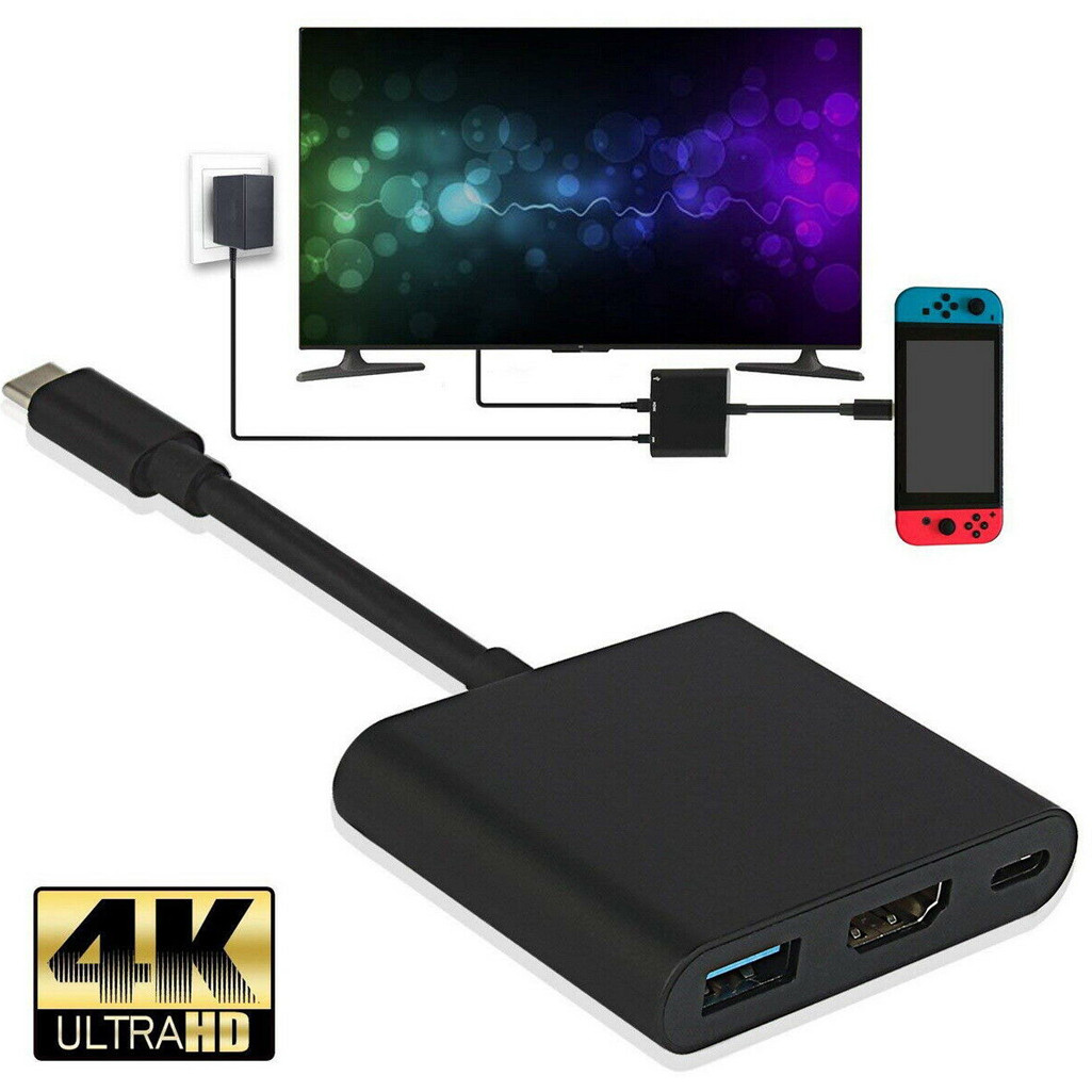 CARPRIE Nintendo Switch 1080P 4K HDMI Adapter For Switch USBC 3.0 HDMI Converter Type-C HUB Adapter For Home TV PC Video Player