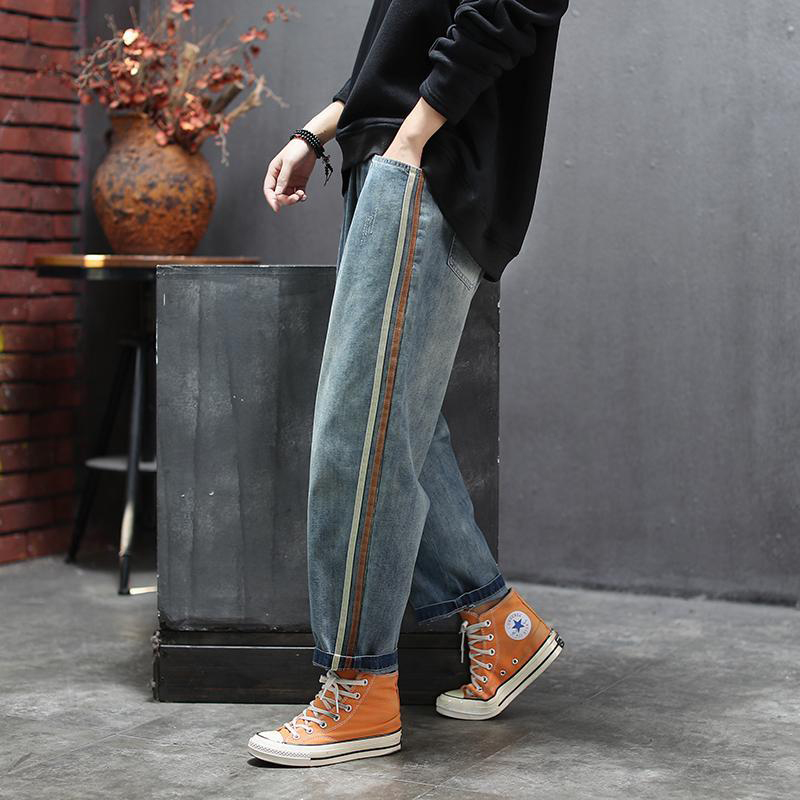 New Arrival Spring Women Elastic Waist Loose Jeans All-matched Casual Cotton Denim Harem Pants Side Stripe Vintage Jeans S612