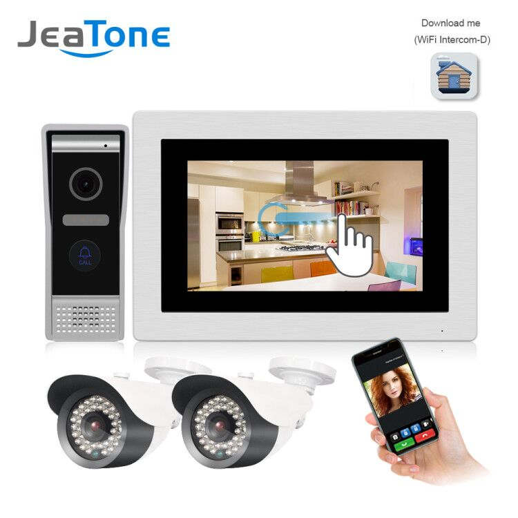 JeaTone 7 Inch WIFI IP Video Door Phone Intercom Wired Door Bell Door Speaker With IP Camera Access Control System