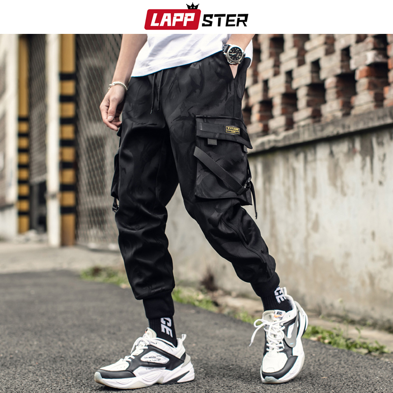 LAPPSTER Mens Streetwear Ribbons Cargo Pants 2019 Overalls Men Hip Hop Camo Sweatpants Trousers Male Camouflage Joggers Pants