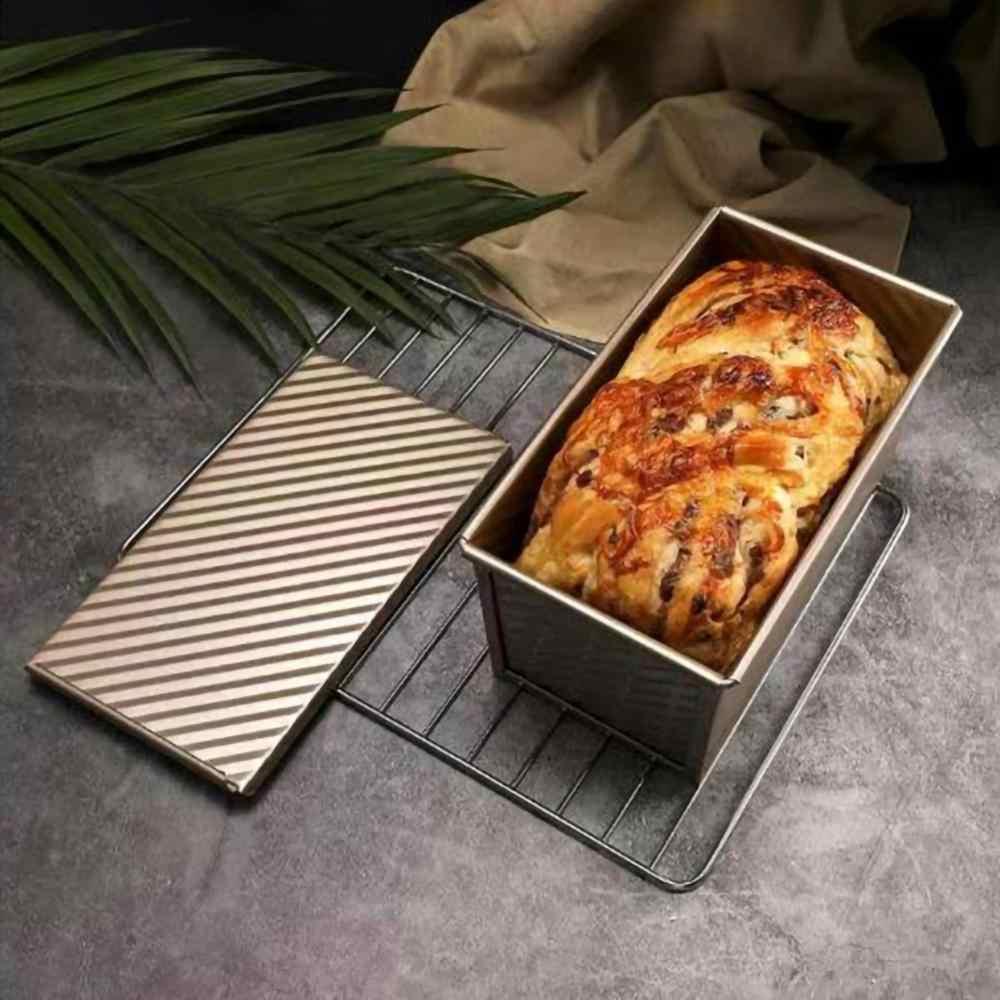 斤パンとカバーパンベーキングモールドケーキトースト非粘着トーストボックスと蓋ゴールドアルミめっき鋼パン金型のパン型