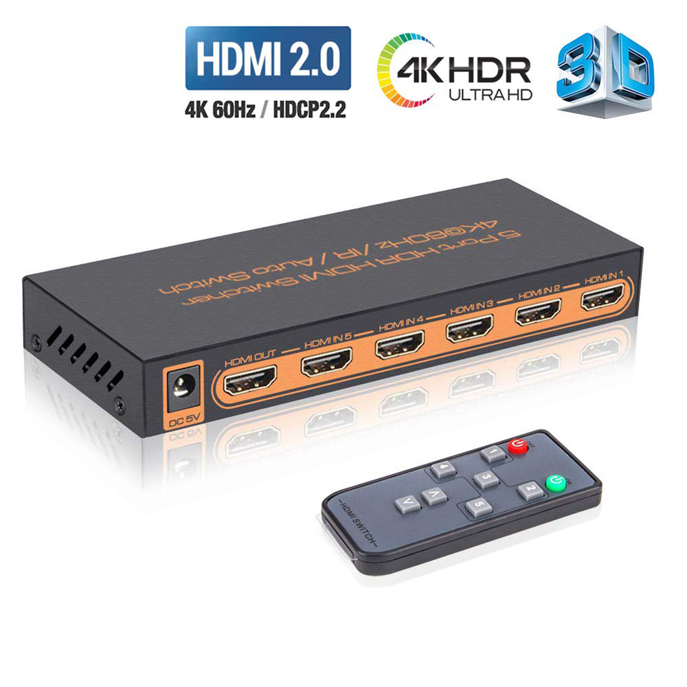 4K@60Hz HDMI 5x1 Switch with Remote,HDMI Switcher HDCP 2.2,Full HD//3D,1080P