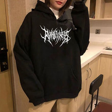 Harajuku Sweatshirts Damen Warme Gothic Street Punk Frauen Hoody Horror Modische Casual Einfache Kurze Druck