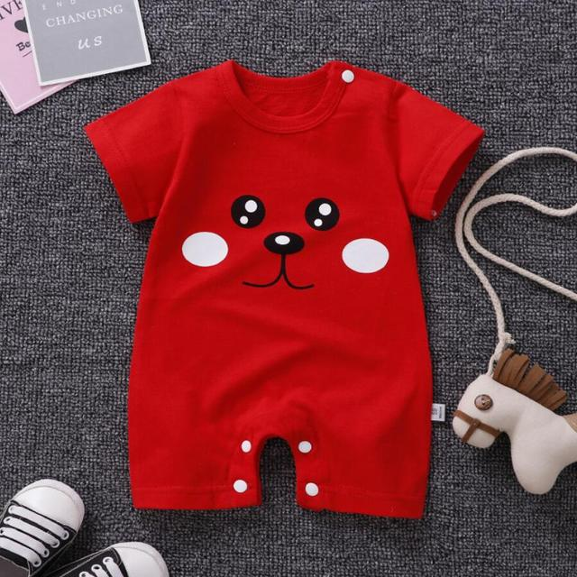 Striped Casual Clothes Themed Short Sleeve Summer Baby Romper 4