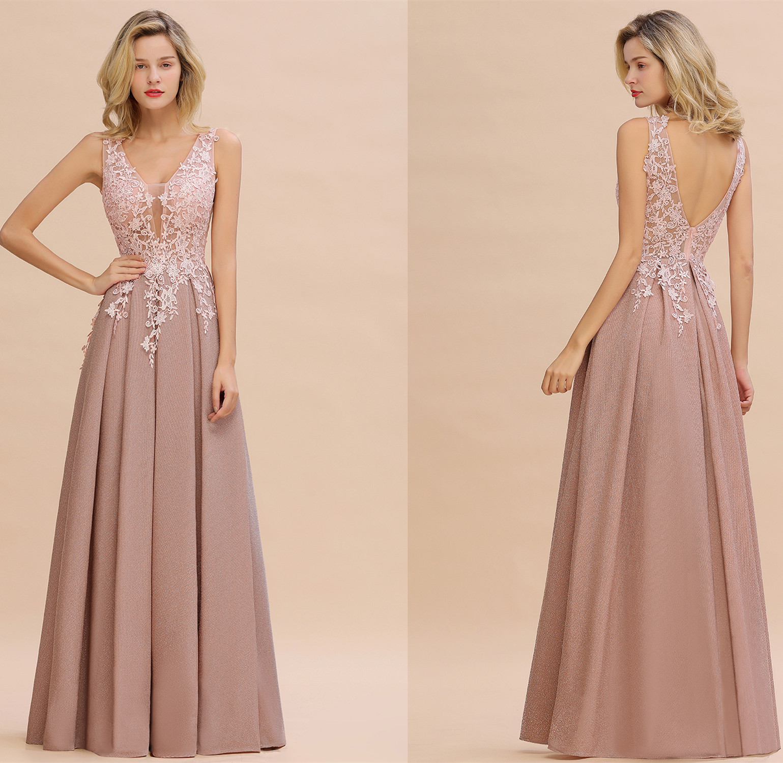 Dust Pink Sleeveless Long Evening Dress Elegant Lace Appliques Party Dress Sexy Backless A Line Party Gowns Vestidos De Novia