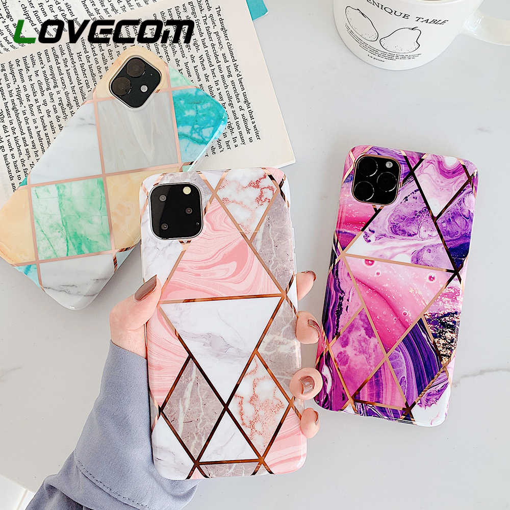 LOVECOM Marble สำหรับ iPhone 11 Pro Max XR XS Max 6 6S 7 8 Plus X soft IMD Electroplated ปกหลัง Coque