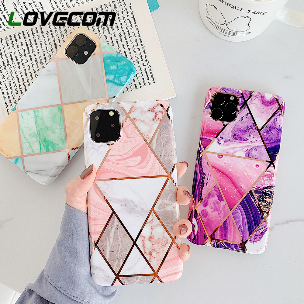 LOVECOM Geometric Marble Phone Cases For iPhone 11 Pro Max XR XS Max 6 6S 7 8 Plus X Soft IMD Electroplated Back Cover Coque(China)