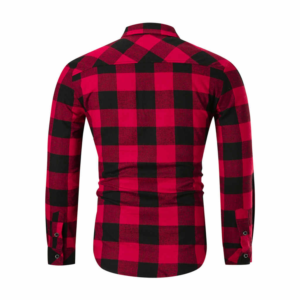 ファッション男性ブランドシャツチェック柄の襟長袖ストリートボタンアップシックなビジネスカジュアルシャツ男性2020カミーサmasculin