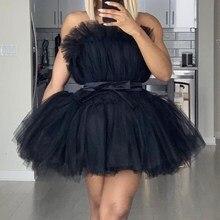 Sexy Mesh Tube Top Empire Sashes Mini Dress Slash Neck Sleeveless Ruffle Double Cake Dress Strapless Solid Dinner Tulle Dress