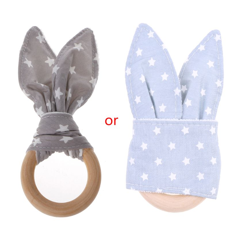 Handmade Wooden Natural Baby Teething Ring Chewie Teether Bunny Sensory Toy Gift D08C