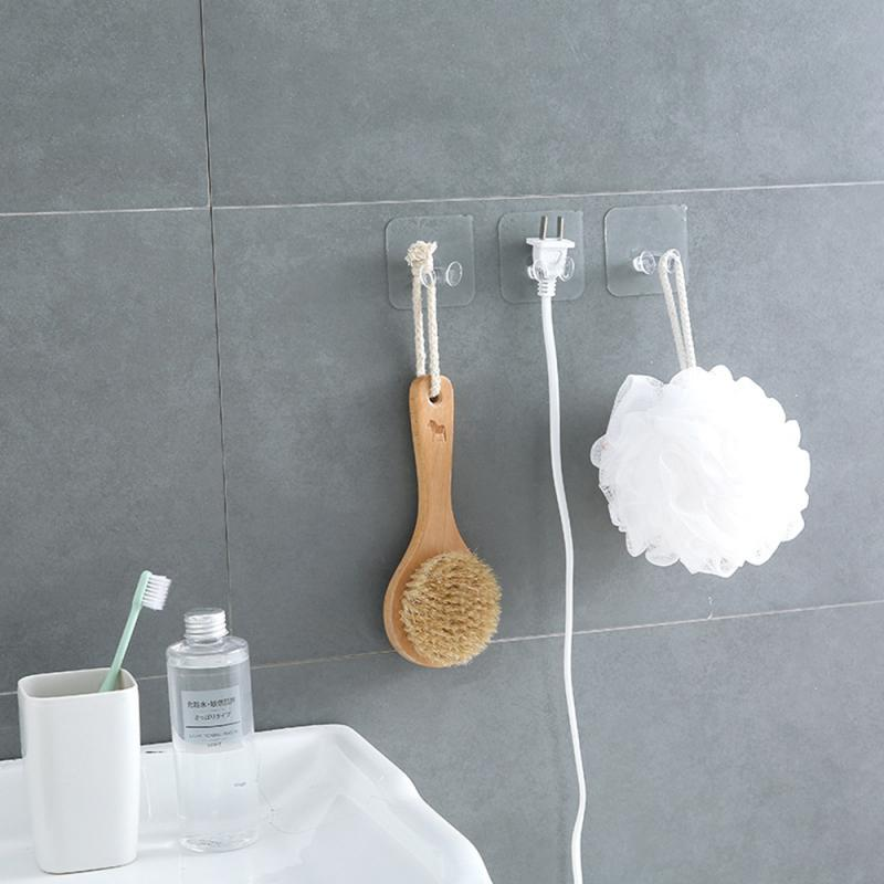 1pc Suction Cup Hook Removable Bathroom Kitchen Wall Transparent Suction Cup Sucker Wall Hooks For Kitchen Bathroom