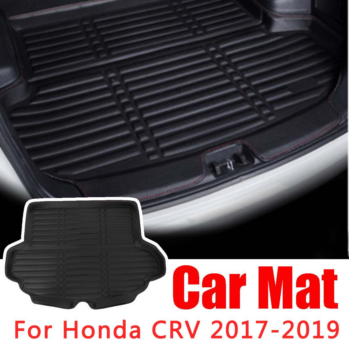 Black Rubber Waterproof Floor Mat Cargo Liner Rear Cargo Tray Trunk Mats For Honda CRV 2017 2018 2019 Interior Accessories
