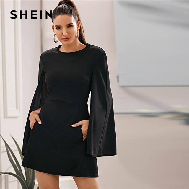 فستان من SHEIN بأكمام واسعة وجيب جانبي بدون حزام للنساء للخريف متين بياقة دائرية وفساتين أنيقة قصيرة