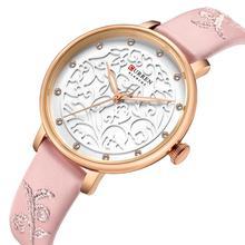 CURREN Ladies Watch Rhinestone Quartz 2019 Modern Fashion Pattern Wristwatch Waterproof Pink Leather Band Relógio Feminino