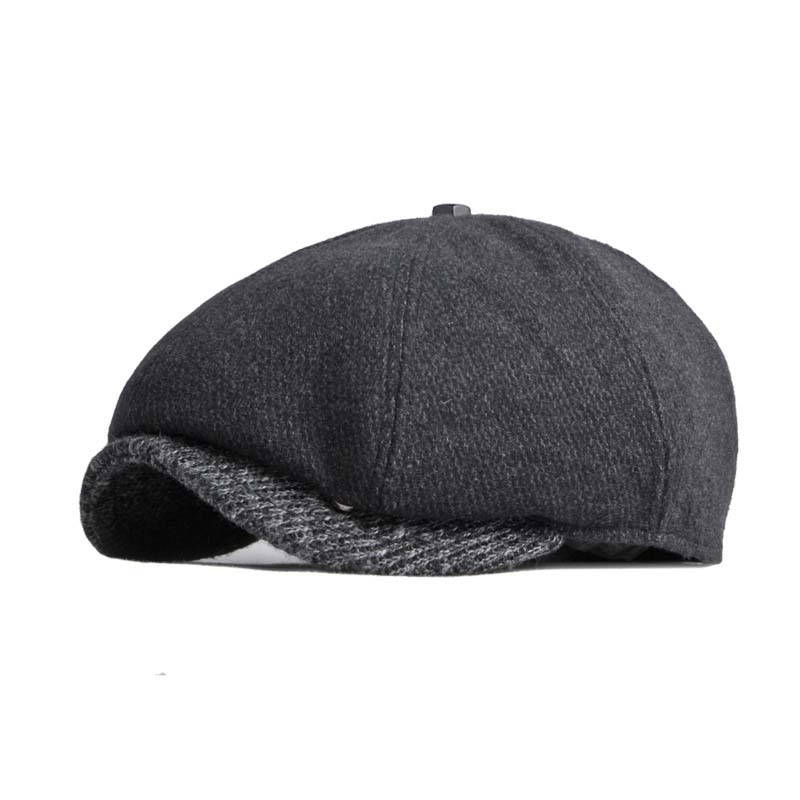QPALCR 2021 New Berets Autumn Winter Newsboy Caps Men Wool Knitting Hat Retro Patchwork England Octagonal Hat Cap
