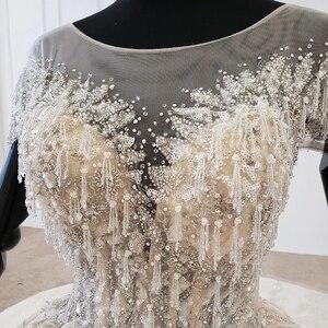 Image 5 - HTL1107 boncuk gelin elbise gelinlik şampanya o boyun payetli püskül kristal korse düğün elbisesi kapaklı kollu suknie slubne