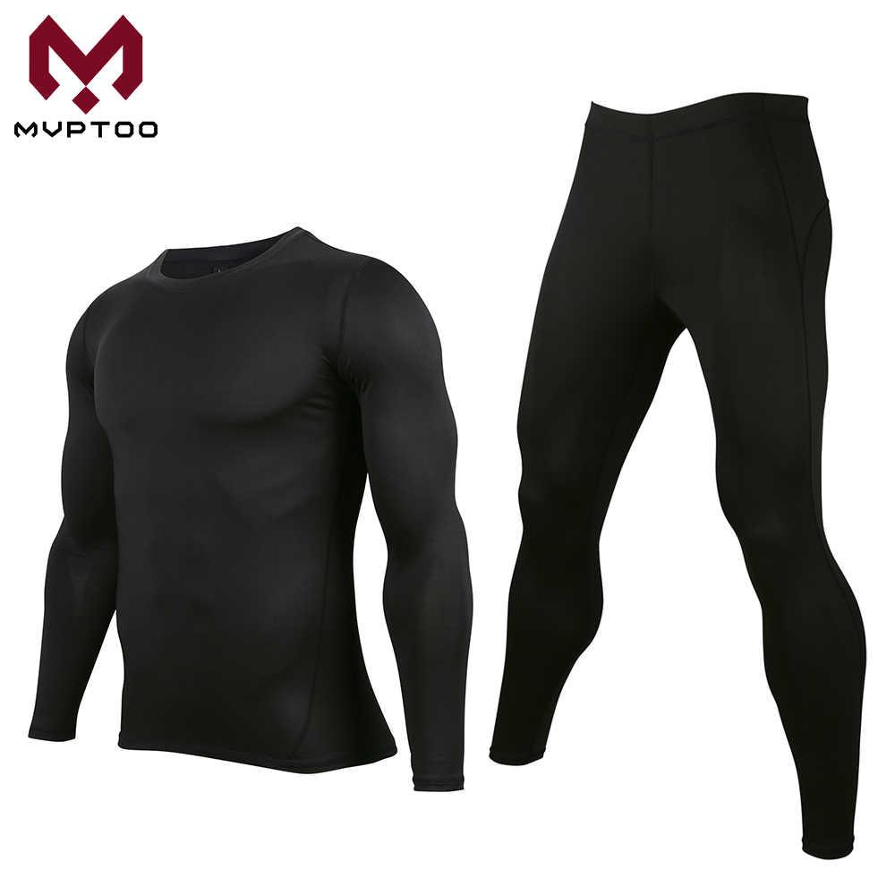 Moto couche de Base ensemble de sous-vêtements séchage rapide hommes Sweat Motocross vêtements serré longue chemise et pantalons ensembles hauts bas costume