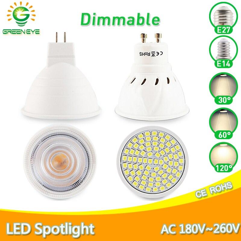 Dimmable LED Spotlight MR16 GU10 MR11 led lamp E27 E14 6W 7W 8W 220V AC12V Spot LED Bulb Light Lampada Bombillas cold warm white