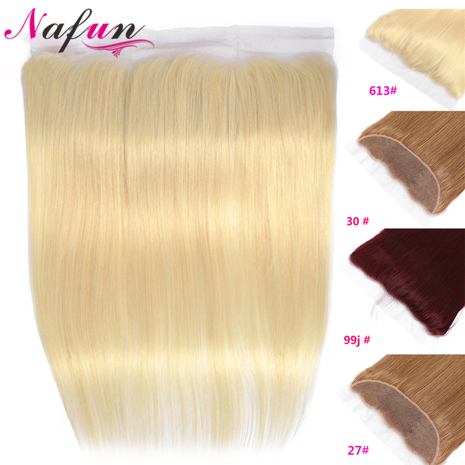 NAFUN #27 30 99j 613 Lace Frontal Closure  Blonde Frontal Human Hair Frontal Brazilian Straight Hair Swiss Lace Closure Non-Remy