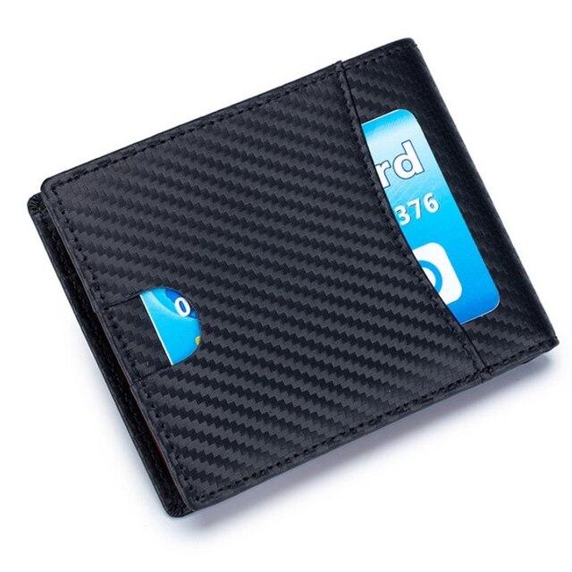 High Quality RFID Blocking Man Carbon Fiber Thin Wallets Microfiber Slim Bank Credit Card Holder For Male Simple Short Purse 2