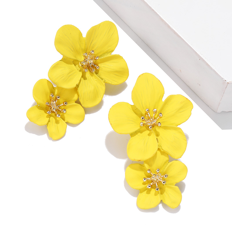 Large Flower Earrings Fashion Women's Earrings 2019 trend Statement Ear Stud Earrings korea Vintage Jewelry For Party Wholesale