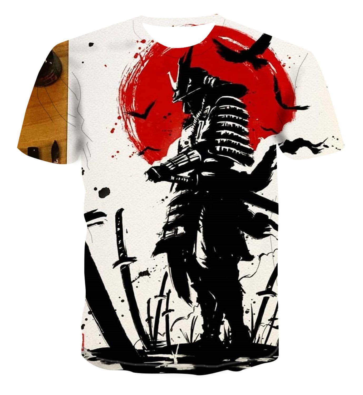 Популярная модная 3D футболка, мужская повседневная футболка с коротким рукавом в уличном стиле с изображением самурая, S 6XL 2020|Футболки|   | АлиЭкспресс