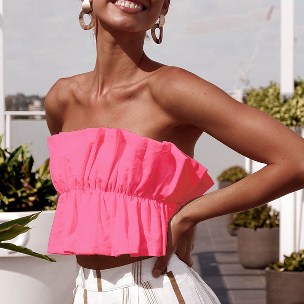 BOHO INSPIRED ruffle crop top for women sexy holiday ladies tops elastic tied back Beachwear Summer sleeveless Cropped Top women(China)